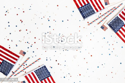 973461098 istock photo 4th of July American Independence Day decorations on white background. Flat lay, top view, copy space 1157313615