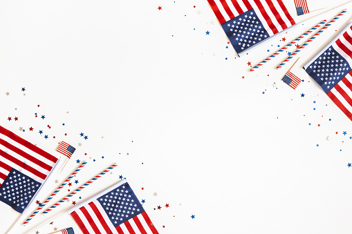 4th Of July American Independence Day Decorations On White Background Flat Lay Top View Copy Space Stock Photo - Download Image Now