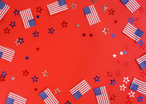 4th of july american independence day usa flags and stars decorations on red   background. flat lay, top view, copy space. - happy 4th of july zdjęcia i obrazy z banku zdjęć