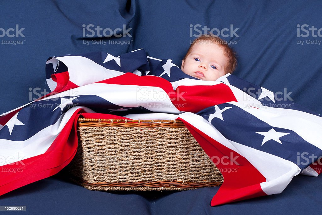 4th of July Baby In A Basket stock photo