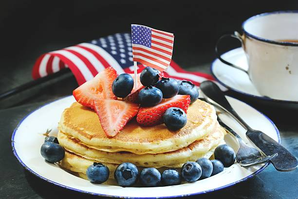 4th of July breakfast pancakes, selective focus stock photo