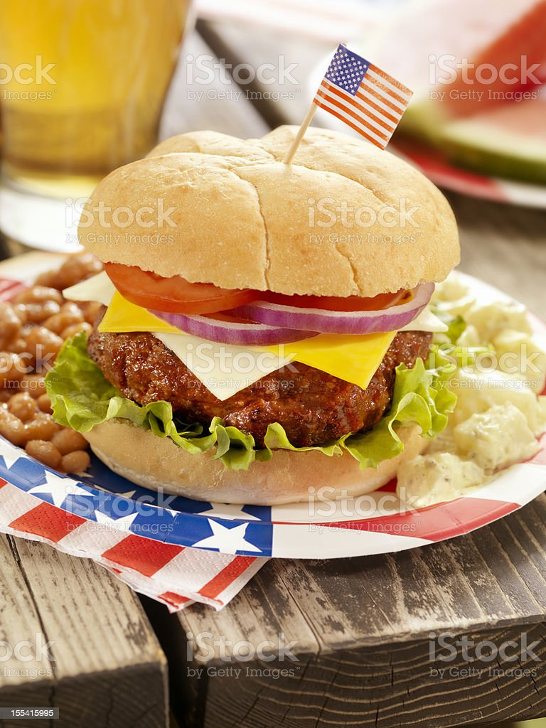 4th of July Burger and Beer royalty-free stock photo