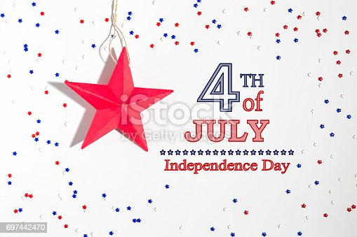 istock 4th of July decorations on a white background 697442470