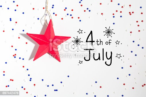 istock 4th of July decorations on a white background 697442476