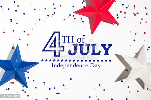 istock 4th of July decorations on a white background 697442482