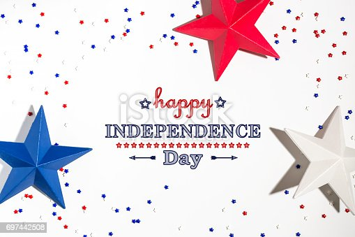 istock 4th of July decorations on a white background 697442508
