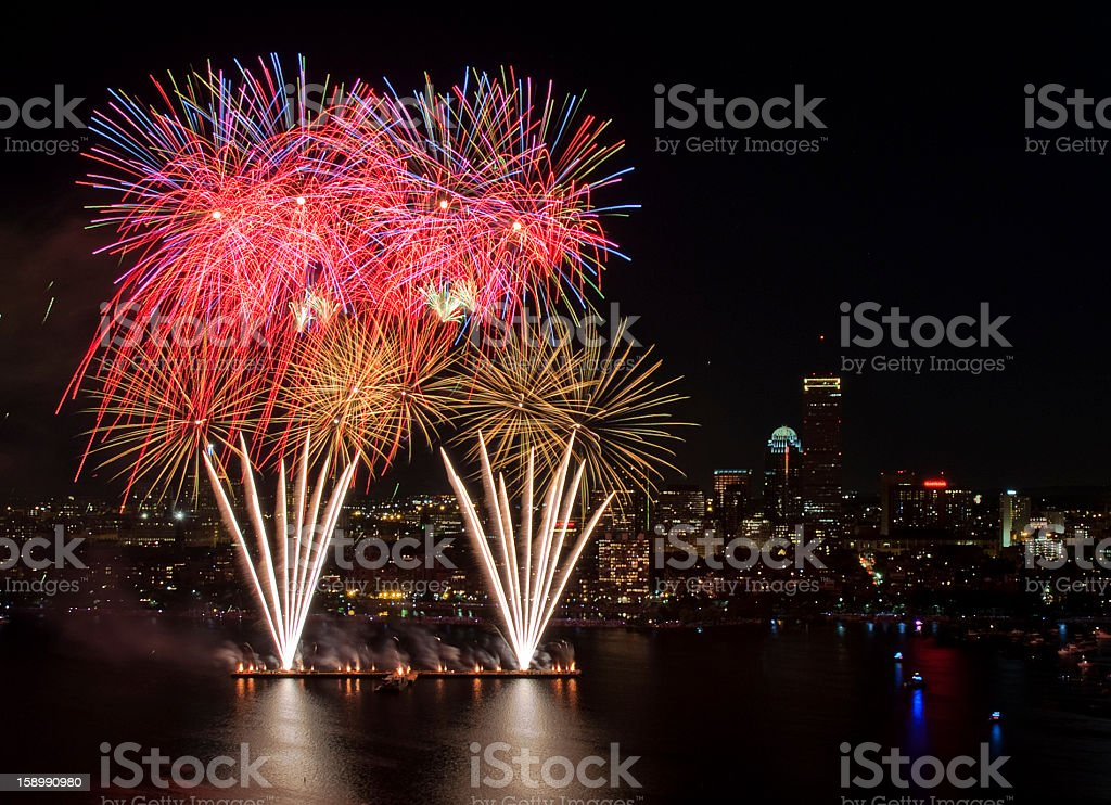 4th of July Fireworks in Boston stock photo