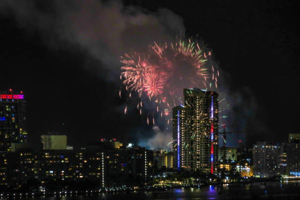 4th of July Fireworks in Downtown Miami stock photo