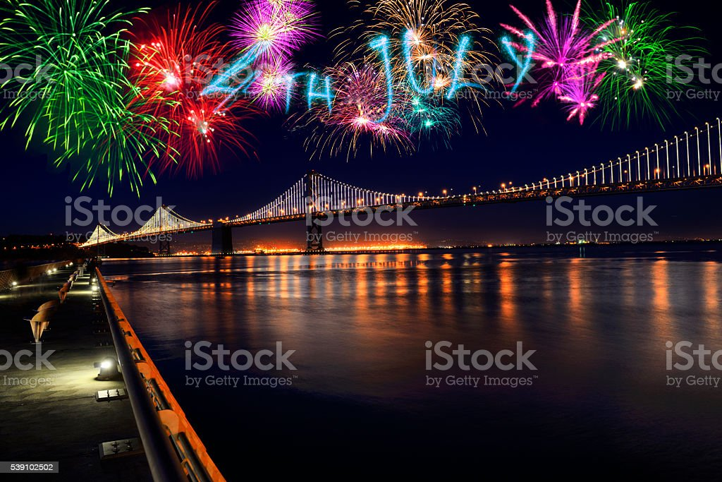 4th of July fireworks, San Francisco stock photo