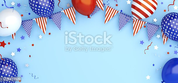 508026042 istock photo 4th of July, Happy Independence Day of the USA greeting card, banner, template, flyer, layout, balloon, star and ribbon, Bunting flags, confetti on blue background, copy space text, 3D illustration. 1226417520