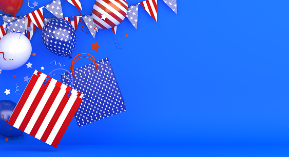 4th of July, Happy Independence Day of the USA shopping bag, banner, template, flyer, layout, balloon, star and ribbon, Bunting flags, confetti on blue background, copy space text, 3D illustration.