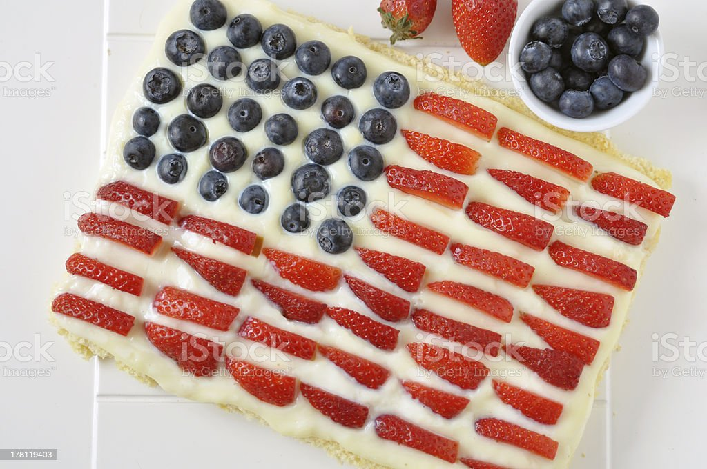 4th of July Independence Berry Cake stock photo