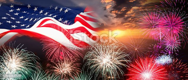 680789648 istock photo USA 4th of july independence day background of american flag with fireworks, Celebration Concept 1254237773