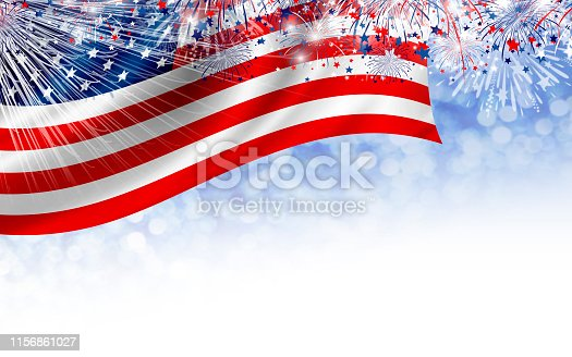 istock USA 4th of july Independence day banner design of American flag with fireworks on white background 1156861027