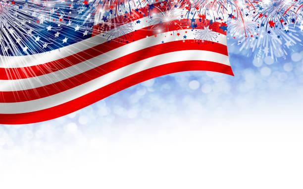 USA 4. Juli Unabhängigkeit Tag Banner Design der amerikanischen Flagge mit Feuerwerk auf weißem Hintergrund – Foto