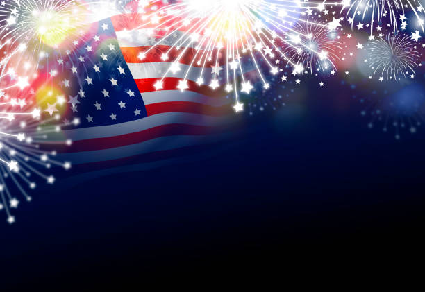usa 4th of july independence day design of american flag with fireworks - happy 4th of july stock pictures, royalty-free photos & images