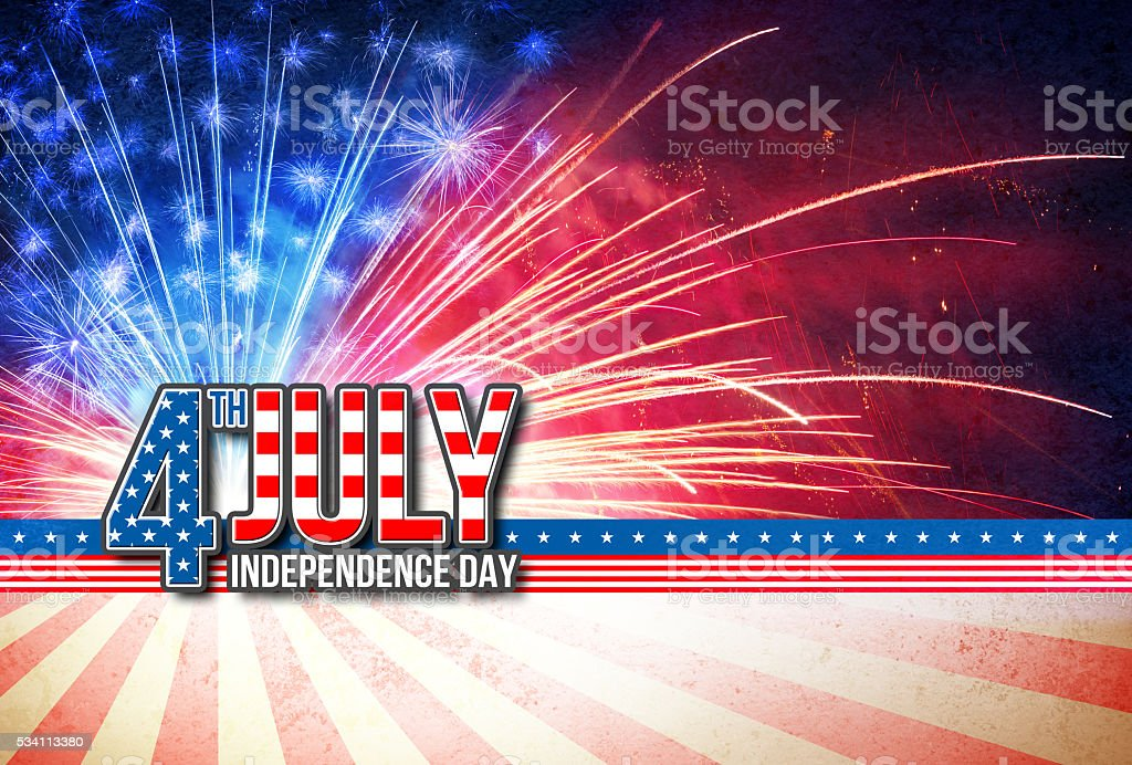 4th Of July - Independence Day Retro Card - foto de stock