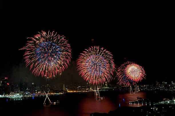 4th of July Macys fireworks display on Hudson River. stock photo