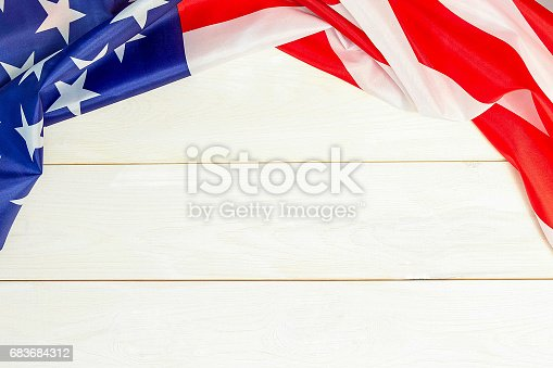 istock 4th of July, the US Independence Day, place to advertise, wooden banner, American flag 683684312