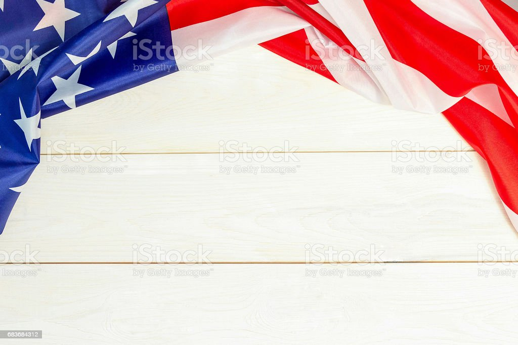 4th of July, the US Independence Day, place to advertise, wooden banner, American flag stock photo