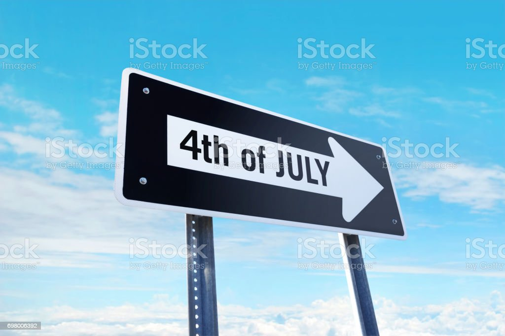 '4th of July' traffic sign stock photo