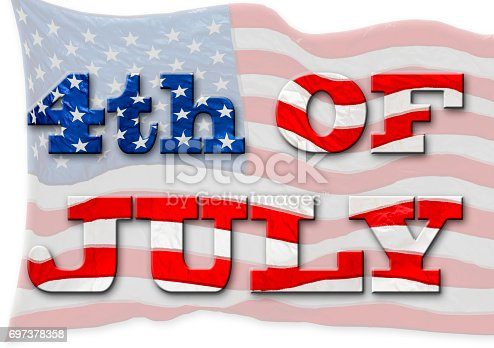 537898300istockphoto 4th of July, United States Flag, Independence day, isolated against the white background. 697378358