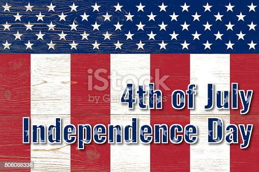 istock 4th of july, united states independence day, paper text over wooden painted planks 806066336