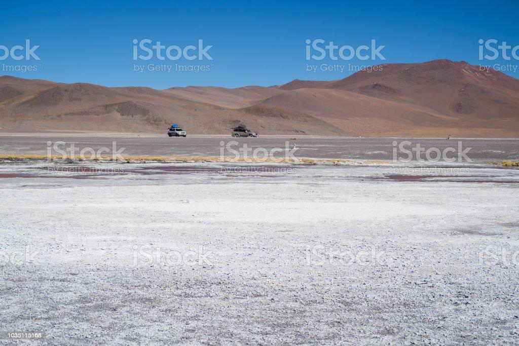 4wd car in Abaroa National Park in Bolivia stock photo