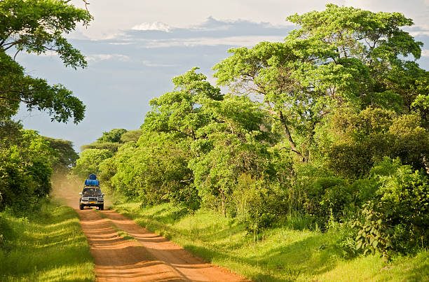 4wd car on an unpaved road in rural africa - democratic republic of the congo stock photos and pictures