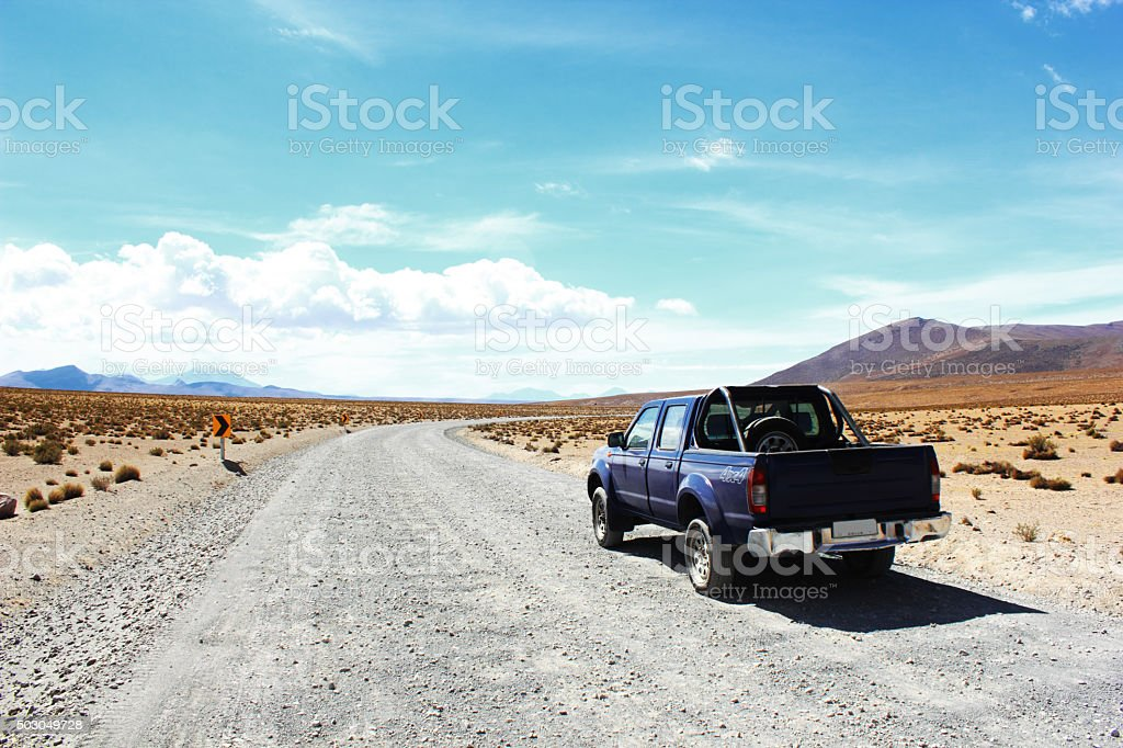 4-Wheel-Drive Pick-up Truck Gravel Road Atacama Desert, Andes, Chile stock photo