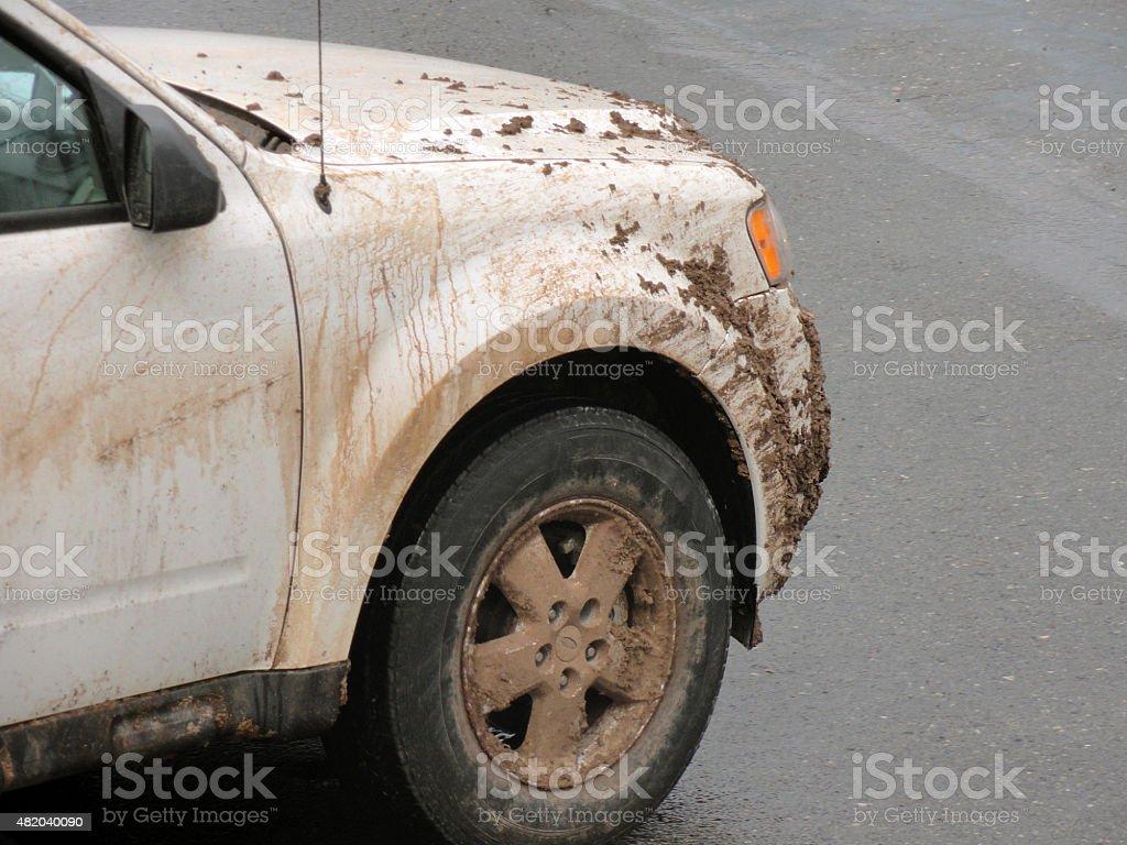 4x4 covered in mud in Sedona stock photo