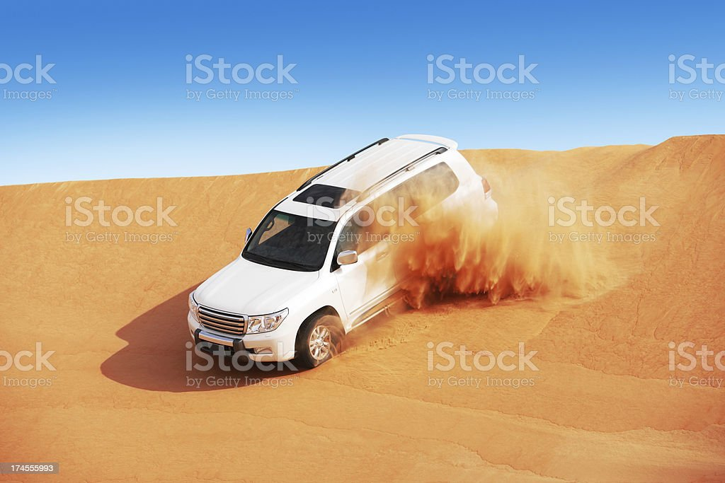 4x4 dune bashing is a popular sport of Arabian desert stock photo