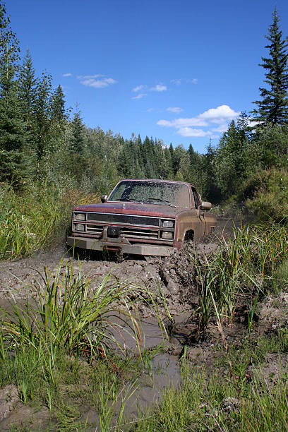 4x4 pickup offroading - cable winch stock photos and pictures