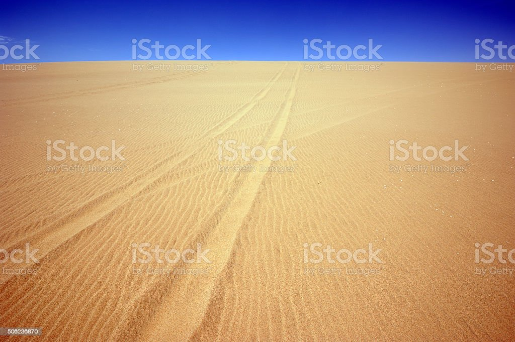 4x4 tracks the only feature, Walvis Bay, Namibia stock photo