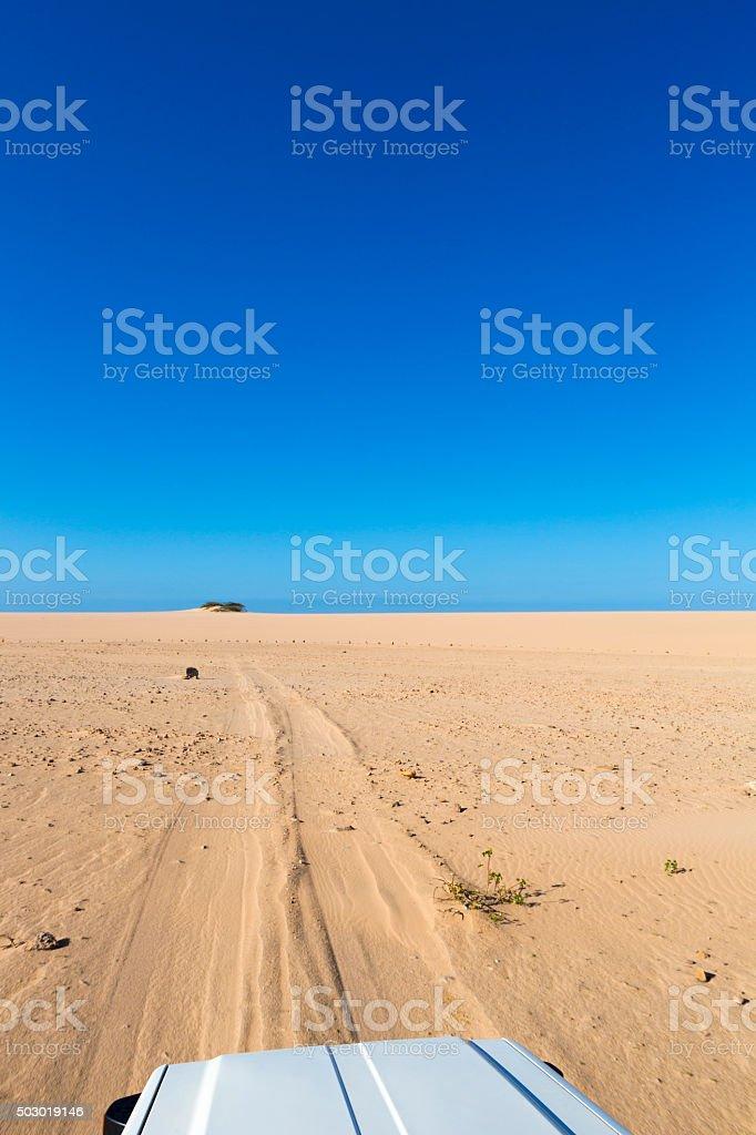 4x4 vehicle driving in sandy track in La Guajira, Colombia stock photo