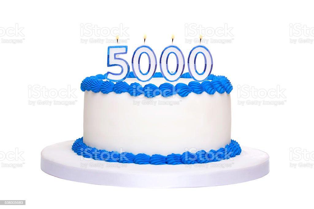 5000th birthday cake stock photo