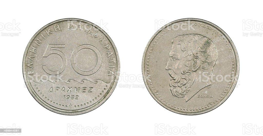 50-Drachmes-Coin, Greece, 1982 stock photo