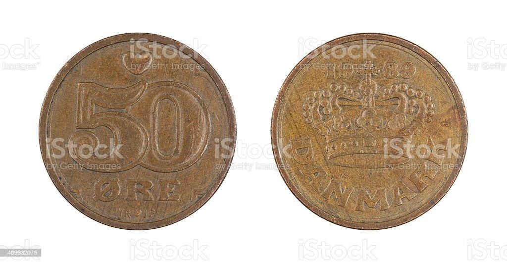 50-Ore-Coin, Denmark, 1989 stock photo