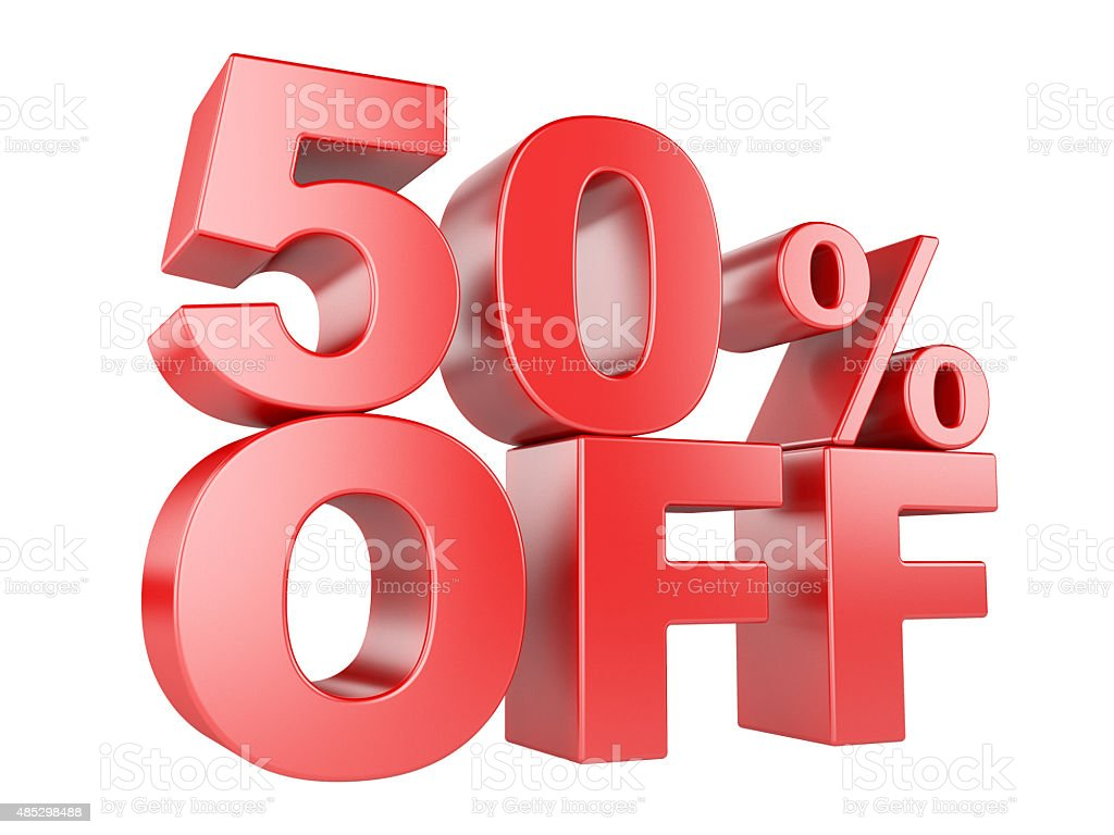 50percent off 3d icon stock photo