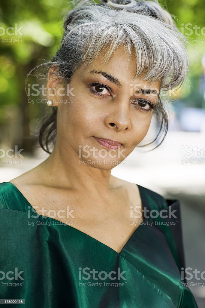 50s African American Woman Portrait Outdoors, Dressed Up royalty-free stock photo