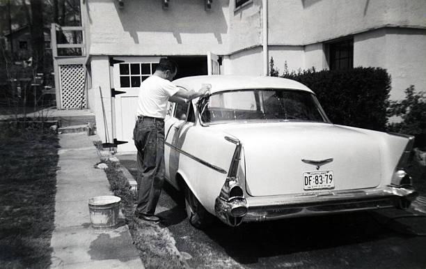 50 s autowäsche - 1m coupe stock-fotos und bilder
