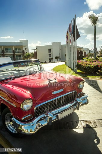 Old car, of 50s, parked in Varadero. Cuba.