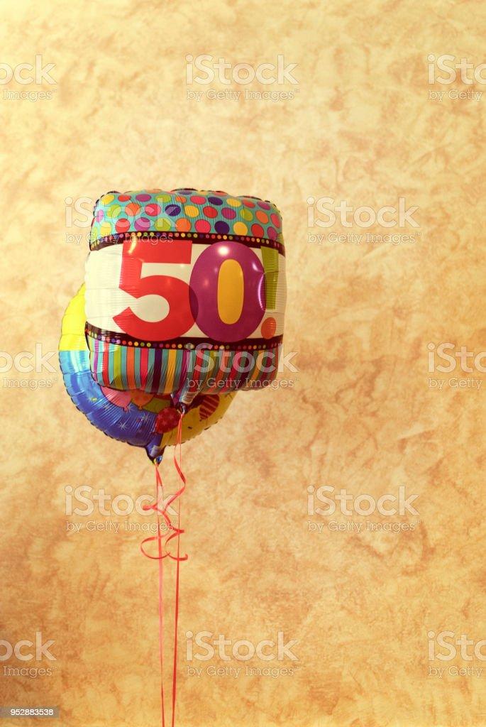 50th anniversary balloons stock photo