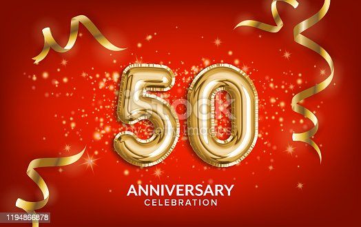 istock 50th Anniversary celebration. Anniversary Celebrating text balloons with golden serpentine and confetti on red background. 1194866878