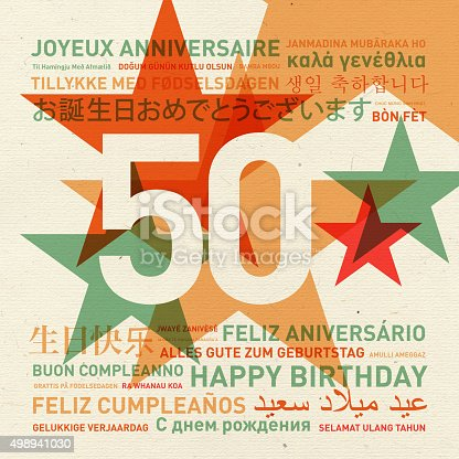 istock 50th anniversary happy birthday card from the world 498941030