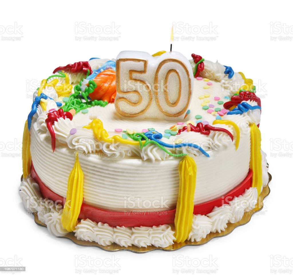 50th anniversary or birthday cake stock photo