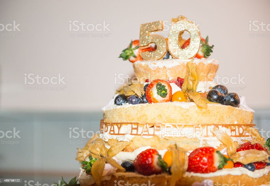 Terrific 50Th Birthday Cake Stock Photo Download Image Now Istock Funny Birthday Cards Online Fluifree Goldxyz