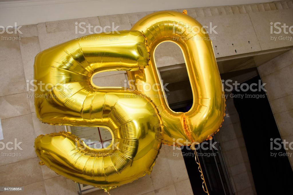50th Birthday Party Balloons Royalty Free Stock Photo
