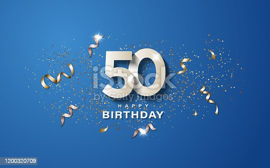 istock 50th birthday with white numbers on a blue background. 1200320709