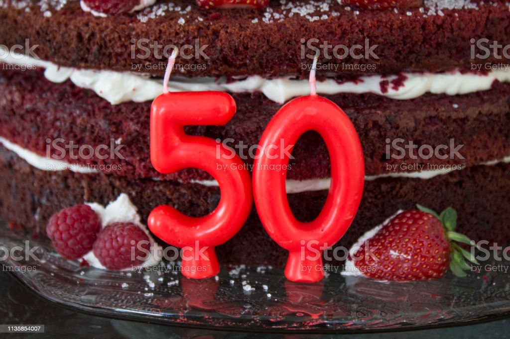 50th Red Velvet Birthday Cake With Strawberries And Candles